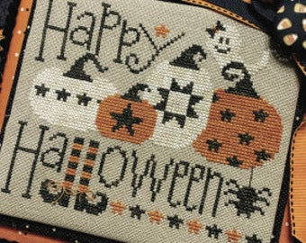 New! PRIMROSE COTTAGE STITCHES Happy Halloween counted cross stitch patterns at thecottageneedle.com