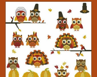PDF Download PINOY STITCHES Thanksgiving Hooties Minis digital counted cross stitch patterns at thecottageneedle.com