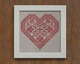 PDF DOWNLOAD The Flowering Heart digital counted cross stitch patterns by Modern Folk at thecottageneedle.com