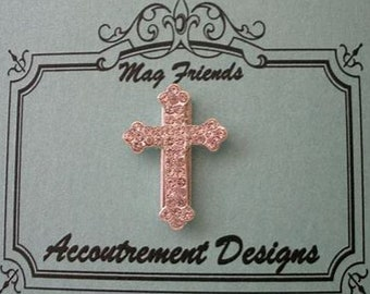SILVER CRYSTAL CROSS Needle Minder magnetized needle holder counted cross stitch notion at thecottageneedle.com embroidery