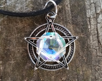 White Witch Pentacle Necklace/ Witch jewelry/ Witchcraft/ Wiccan Jewelry/ Pagan Jewelry/ Protection Talisman/ Pentagram Necklace/ Yule Gift
