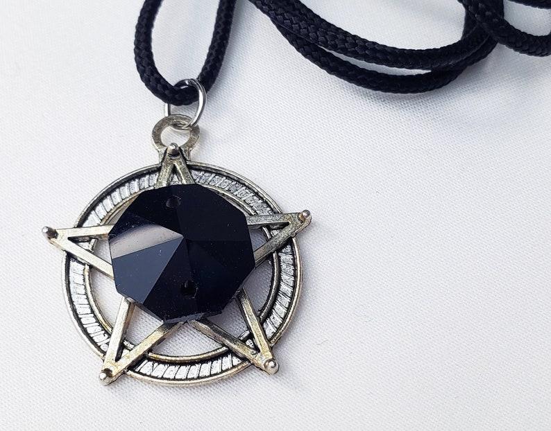 Black Pentacle Necklace Voodoo Jewelry Dark Magic Gothic Jewelry Voodoo Vampire Necklace Wicca Jewelry Vampire Jewelry