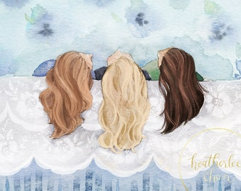 Three Best Friends - Three Sisters Art - Watercolor Painting Print
