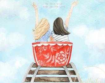 Best Friends on a Roller Coaster Art - Sisters Art
