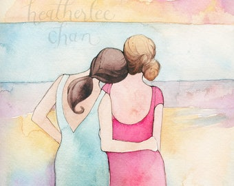 Best Friends Art Sisters Art Watercolor Painting Print Etsy