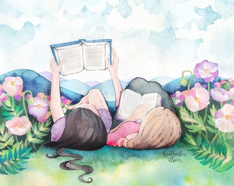 Best Friend Art - Sisters Art - Reading - Watercolor Print