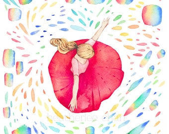 Dancing in Rainbows Watercolor -  Art Painting Print