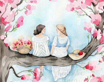 Best Friend Art - Sisters in a Cherry Blossom Tree - Watercolor Painting