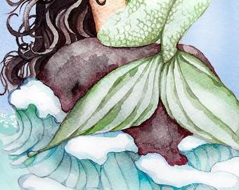 Mermaid Art - Watercolor Print