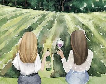 Best Friends Drinking Wine Art - Sisters Art