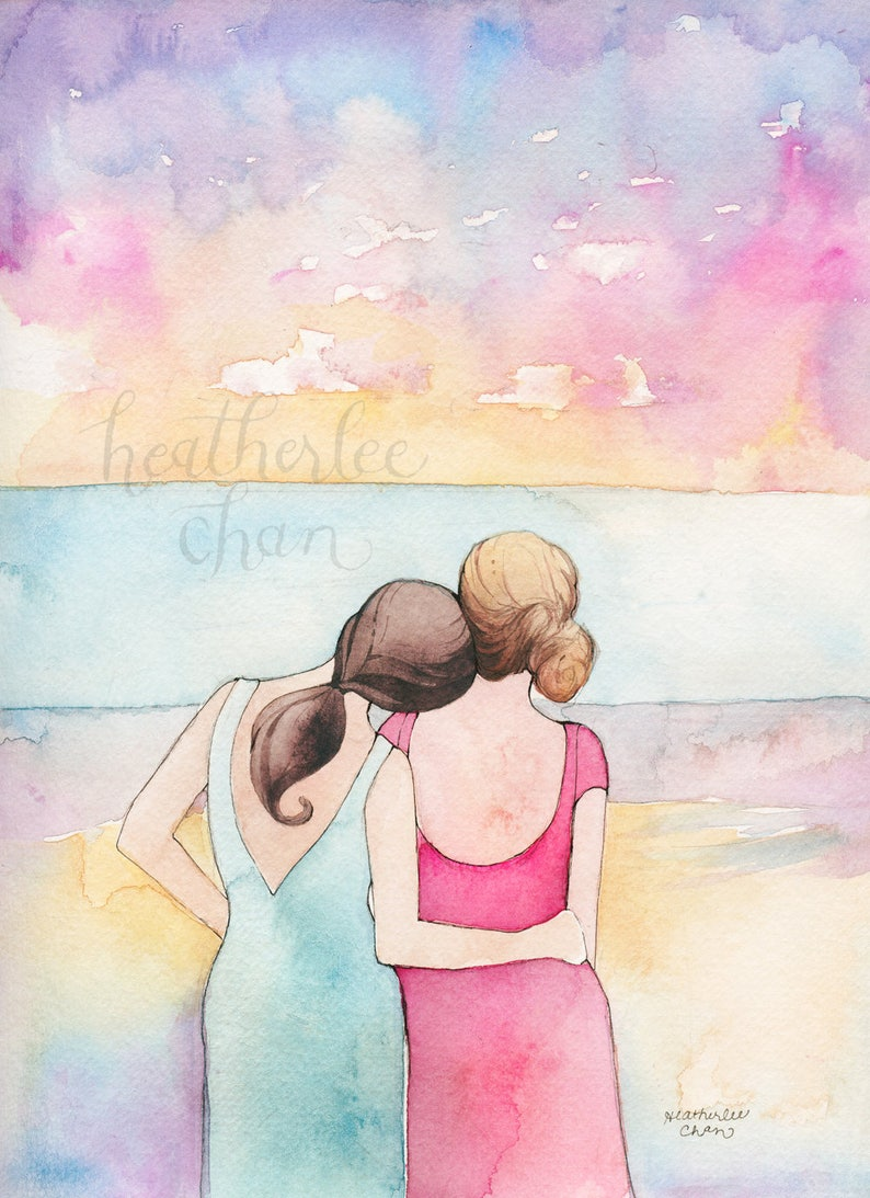 Best Friends Art  Sisters Art at the Beach  Watercolor image 0