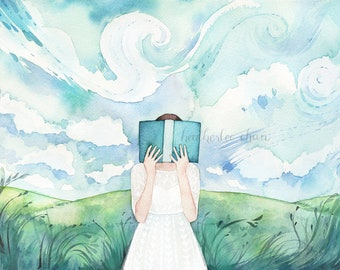 The Reader in the Field Watercolor Art Print