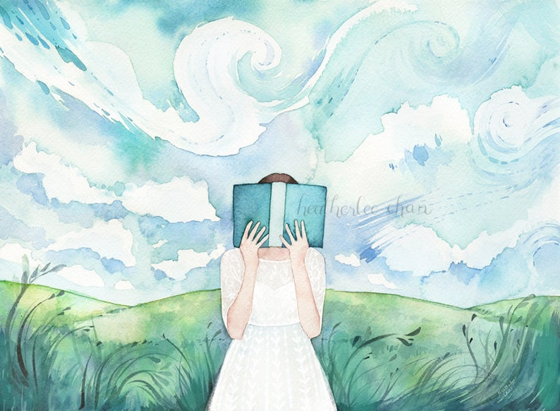 The Reader in the Field Watercolor Art Print image 0