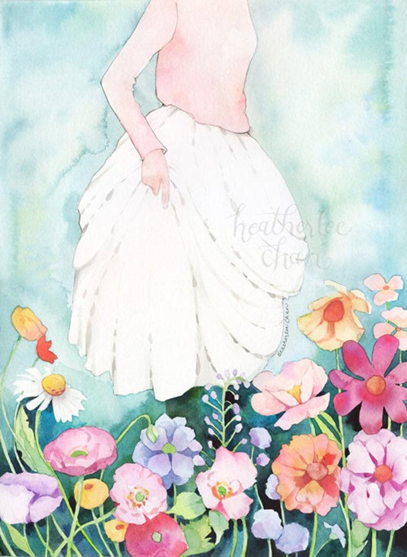Girl Walking Through Flowers Watercolor   Art Painting Print image 0