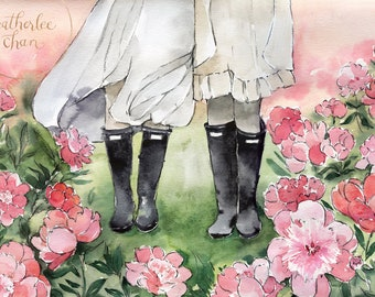 Best Friends + Sisters Rainboots and Peonies Art