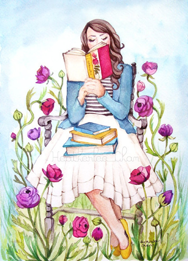 The Book Lover with Flowers  Watercolor Print image 0