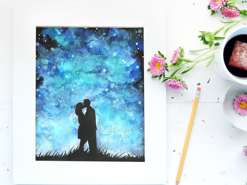 Starry Night Sky and Lovers Watercolor   Art Painting Print image 0