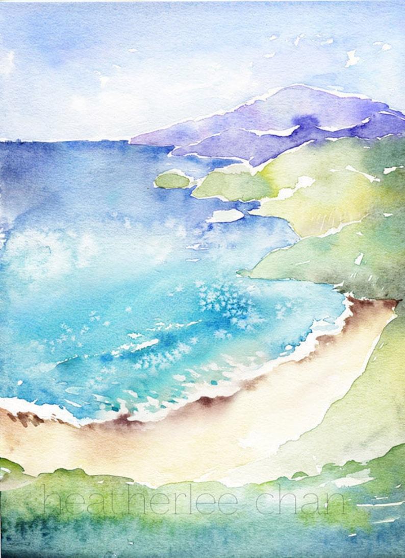 Beach Art  Big Sur  Watercolor  Landscape  Print image 0