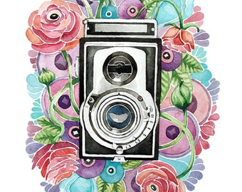 Photographer Watercolor Print 8x10