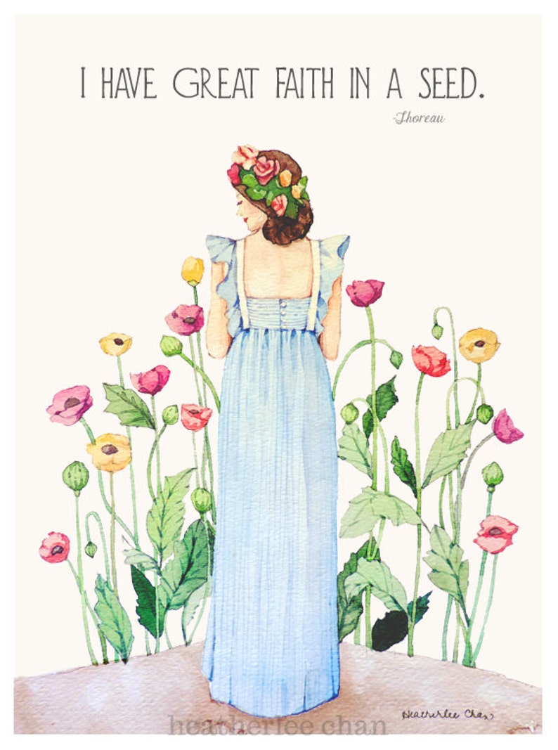 Garden Girl Painting  Poppies  Romantic Watercolor Print image 0