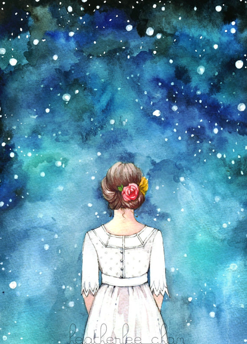 Starry Night Sky and Girl Art - Watercolor Print