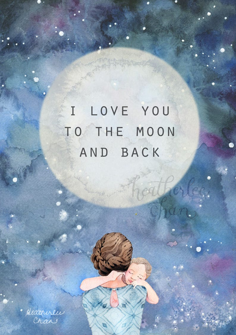 91462dc232 Mother Art I love you to the moon and back Watercolor | Etsy