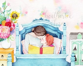 Mother and Daughter Reading - Storytime - Watercolor Print