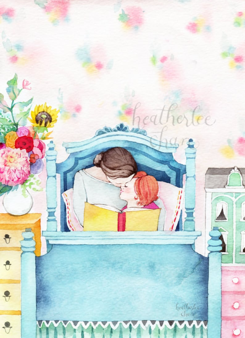 Mother and Daughter Reading  Storytime  Watercolor Print image 0
