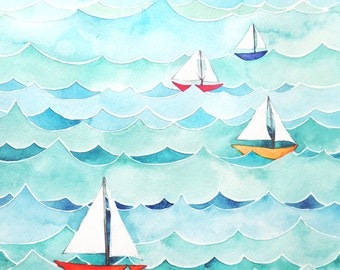 Sailboats with Waves Watercolor Painting Print