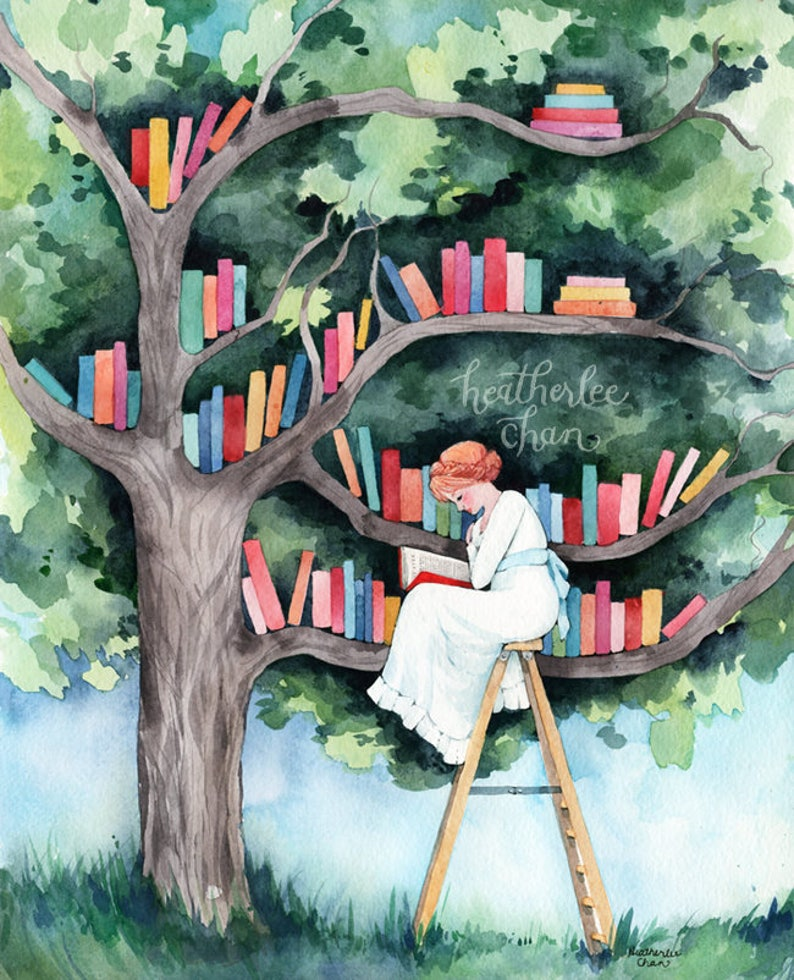 The Reader and the Tree Library  Watercolor Art Print image 0