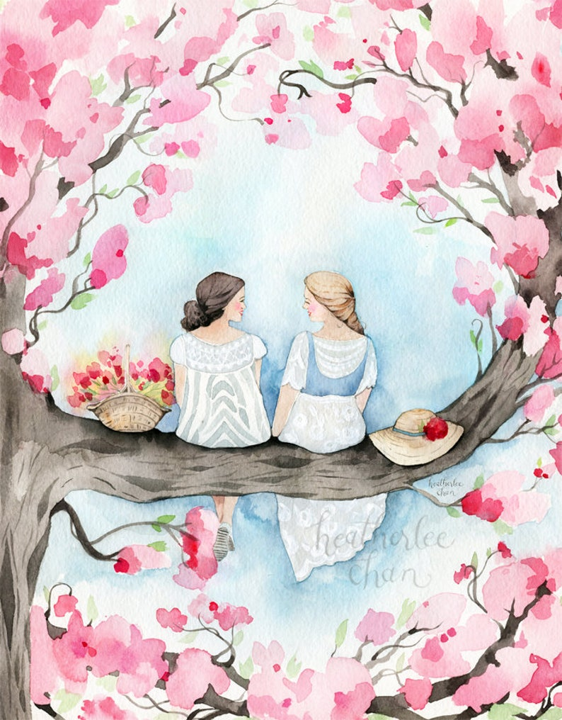 Best Friend Art  Sisters in a Cherry Blossom Tree  image 0