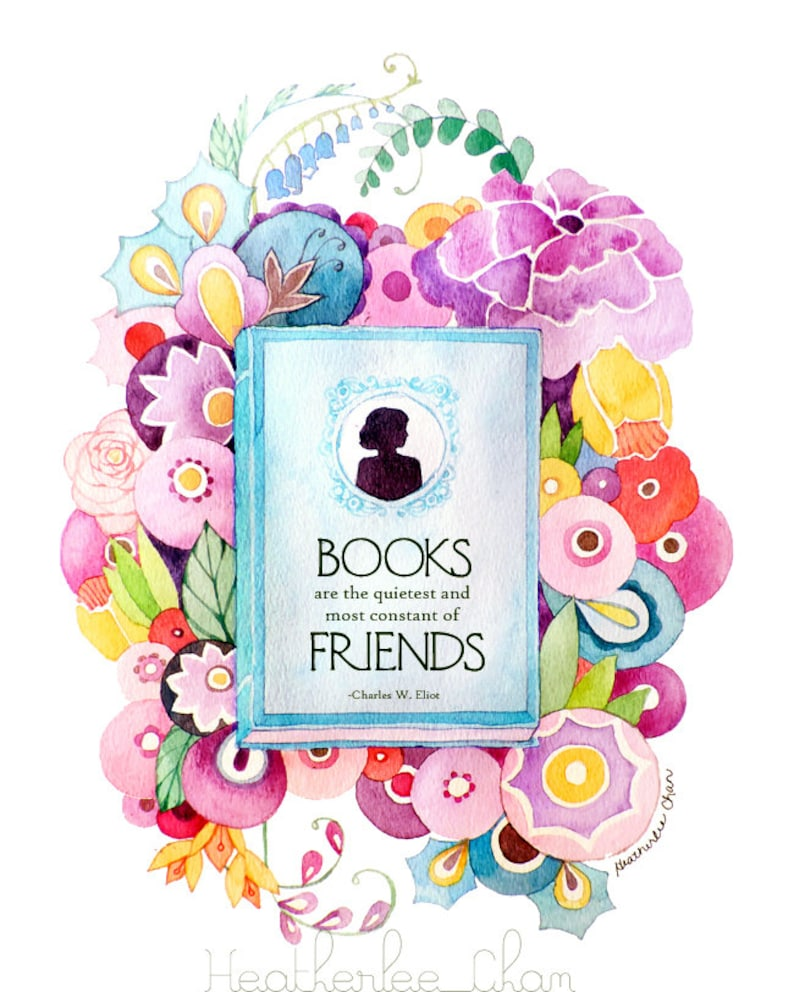 Book Painting and Flowers  Watercolor Print image 0