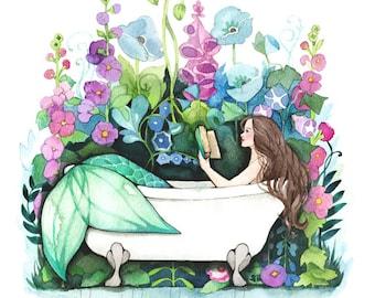 Mermaid Art - Reading in Bathtub - Watercolor Print