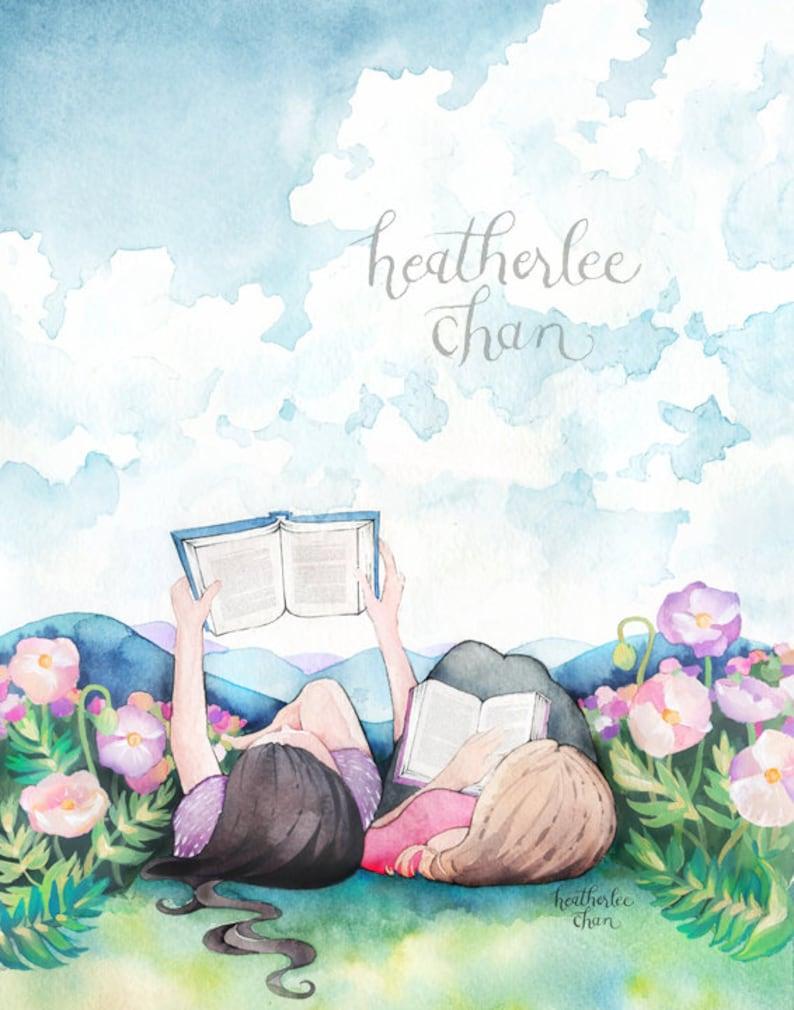 Best Friend Art  Sisters Art  Reading  Watercolor Print image 0
