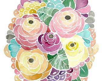 Flower Watercolor Painting - Print