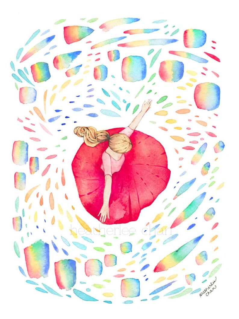 Dancing in Rainbows Watercolor   Art Painting Print image 0