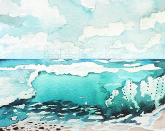 Beach Painting - Watercolor -  Landscape - Print