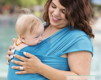 USA made Beachfront Baby Wrap Carrier- SAFE water babywearing at the beach, pool, water park or in the shower- Caribbean Blue Mesh