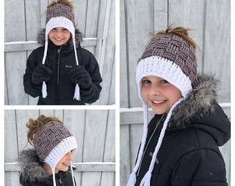 Crochet Pattern for Basket Weave Ponytail or Messy Bun Beanie Hat DIY Tutorial - Sizes baby to large adult - Welcome to sell finished items