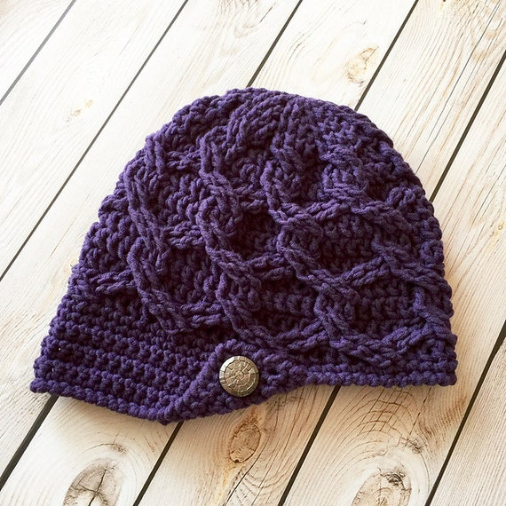 Crochet Pattern For Chunky Chain Link Slouchy Newsboy Beanie Etsy