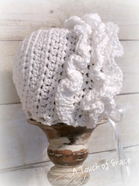 Crochet Pattern for Ruffled Baby Bonnet Hat 4 sizes baby to toddler ... 066b79ed23d