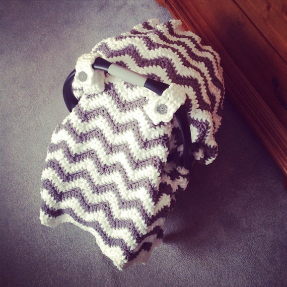Crochet Pattern For Chunky Chevron Car Seat Canopy Cover Etsy
