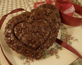 Cocoa Gingerbread Hearts, Gingerbread Chocolate Heart Shaped Cookies, 1 doz, gift for Mom, Special Friend, For Dad