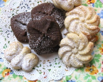 Butter Rich Spritz Cookies - 4 dozen-Variety shapes, flavors,simply Good and Delectable