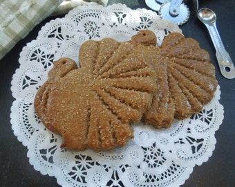 Turkey Shaped Gingerbread Cookies for Holiday Fare 1 doz-Parties-Gifts-Ginger Zing Treats-Festive Ginger Cookies