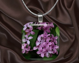 Lilac Glass Tile Pendant with chain(CuFl21.6)