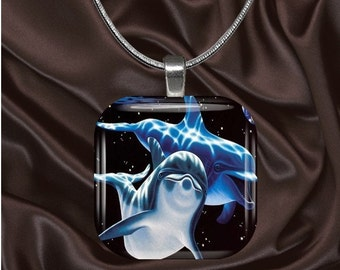 Dolphin Glass Tile Pendant with chain(CuAn1.3)