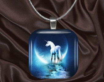 Unicorn Moon Glass Tile Pendant with chain(CusFF21.3)