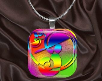 Rainbow Heart Glass tile Pendant with chain(CuyRa5.2)