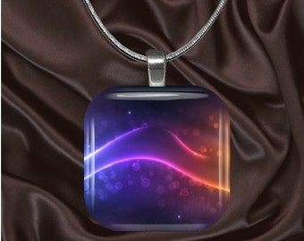 Purple and Orange Glass Tile pendant withchain(CuFF12.4)